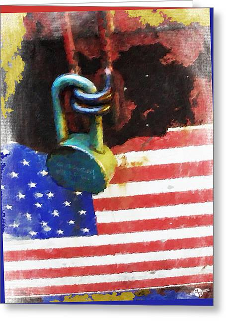 Civil Rights And Wrongs Home Land Security Flag And Lock 2 Greeting Card by Tony Rubino
