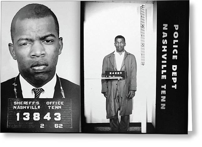 Civil Rights Leader John Lewis Mugshot Greeting Card by Bill Cannon
