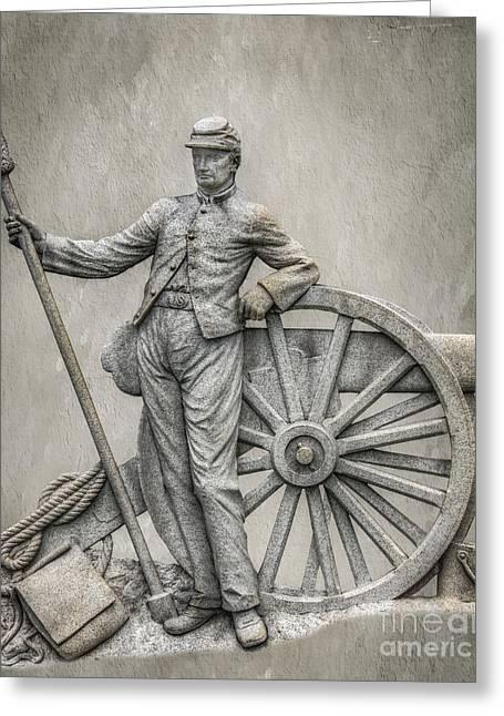 Civil War Cannon And Artilleryman Greeting Card by Randy Steele