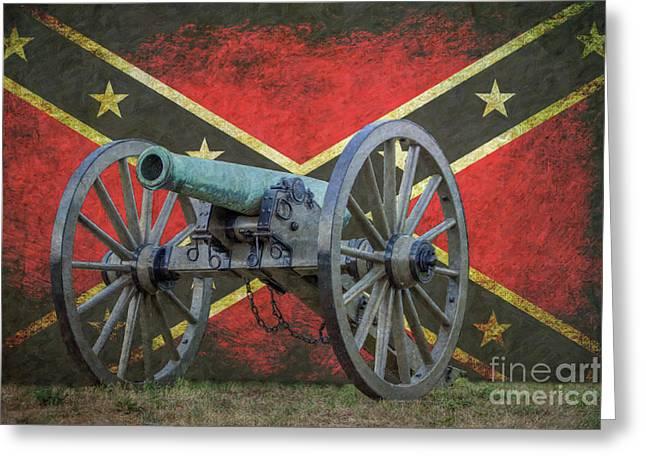 Civil War Cannon Rebel Flag Greeting Card by Randy Steele