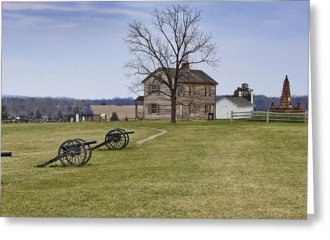 Civil War Cannons And Henry House At Manassas Battlefield Park - Virginia Greeting Card by Brendan Reals
