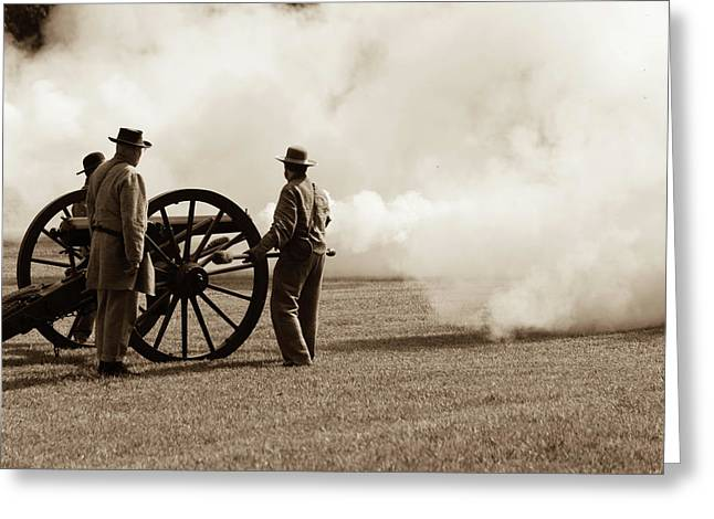 Civil War Era Cannon Firing  Greeting Card