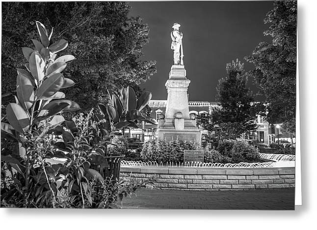 Civil War Memories - Downtown Bentonville Square - Black And White Greeting Card by Gregory Ballos
