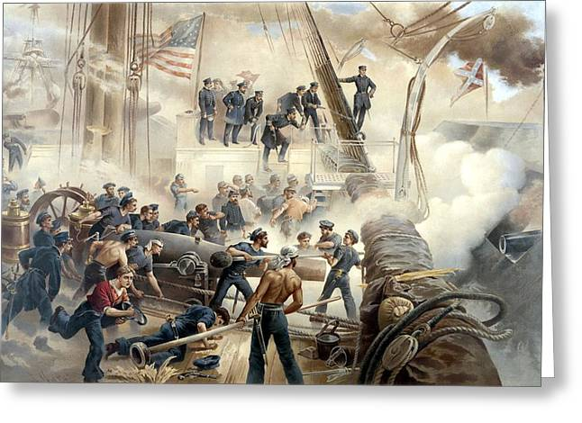 American History Paintings Greeting Cards - Civil War Naval Battle Greeting Card by War Is Hell Store