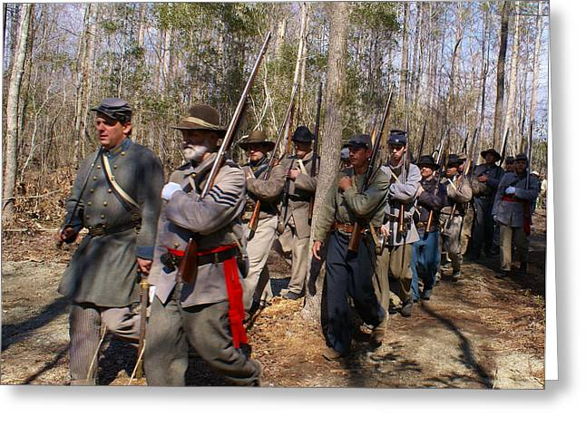 Civil War Soldiers March Through Woods Greeting Card by Rodger Whitney