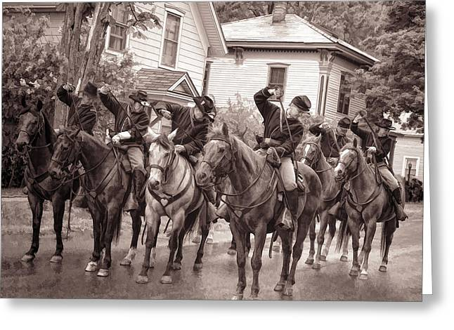 Civil War Soldiers On Horses Greeting Card