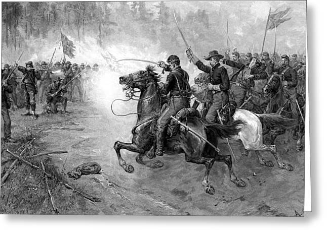 Civil War Union Cavalry Charge Greeting Card