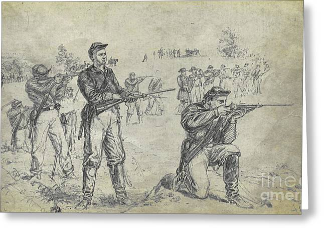 Civil War Union Cavalry Troopers Greeting Card by Randy Steele