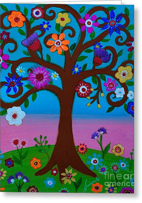 Greeting Card featuring the painting Cj's Tree by Pristine Cartera Turkus
