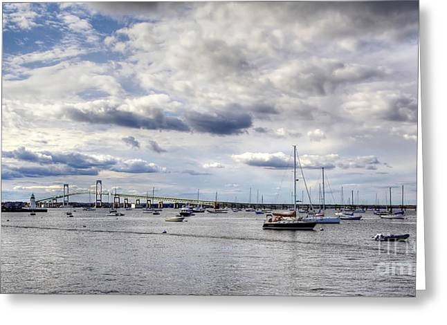 Claiborne Pell Newport Bridge Greeting Card by Adrian LaRoque