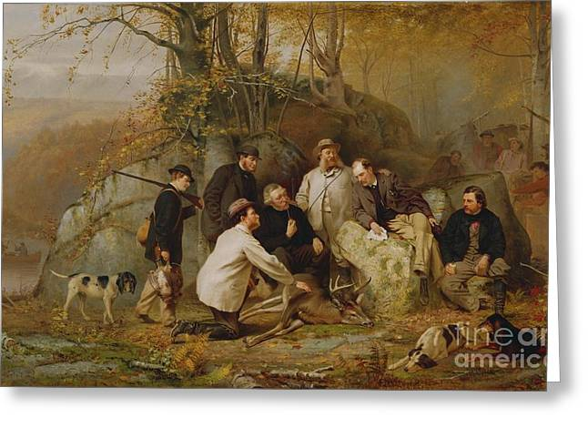 Hunting Greeting Cards - Claiming the Shot - After the Hunt in the Adirondacks Greeting Card by John George Brown