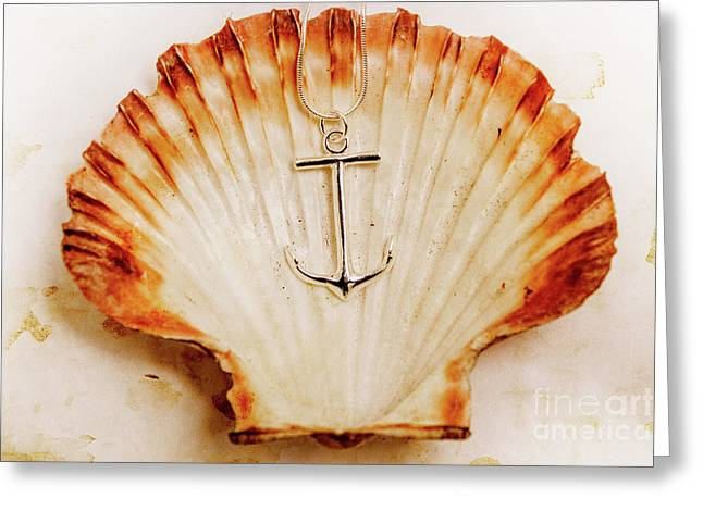 Clam Shell And Naval Anchor Greeting Card by Jorgo Photography - Wall Art Gallery