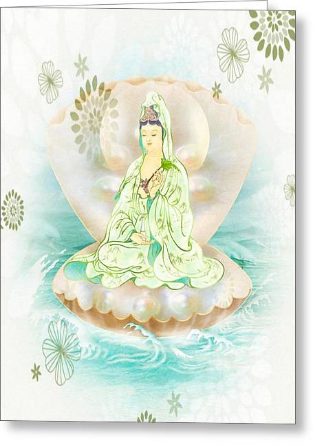 Clam-sitting Kuan Yin 1 Greeting Card by Lanjee Chee