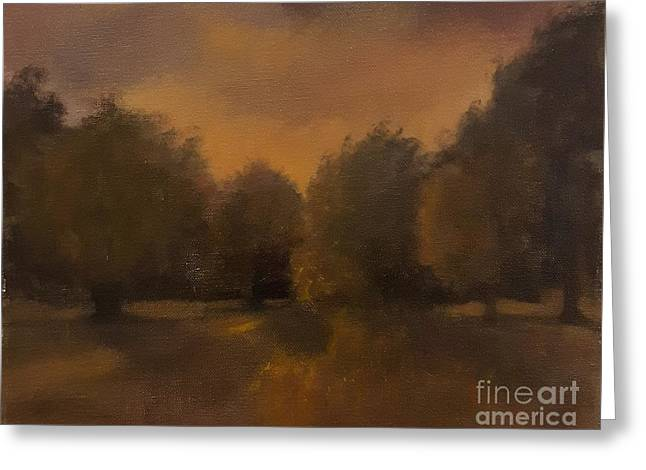 Clapham Common At Dusk Greeting Card