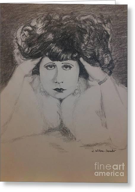 Clara Bow In Fur Greeting Card by N Willson-Strader