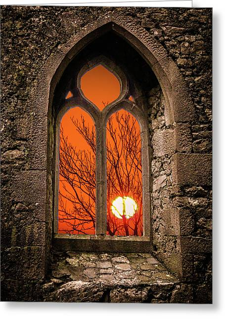 Greeting Card featuring the photograph Clare Abbey Sunrise by James Truett