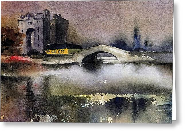 Clare  Bunratty Dusk  Greeting Card by Val Byrne