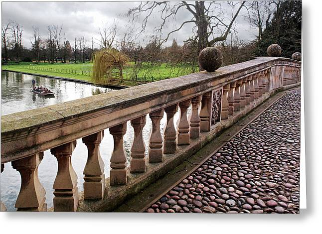 Clare College Bridge Cambridge Greeting Card by Gill Billington