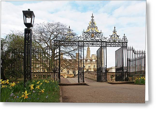 Clare College Gate Cambridge Greeting Card by Gill Billington