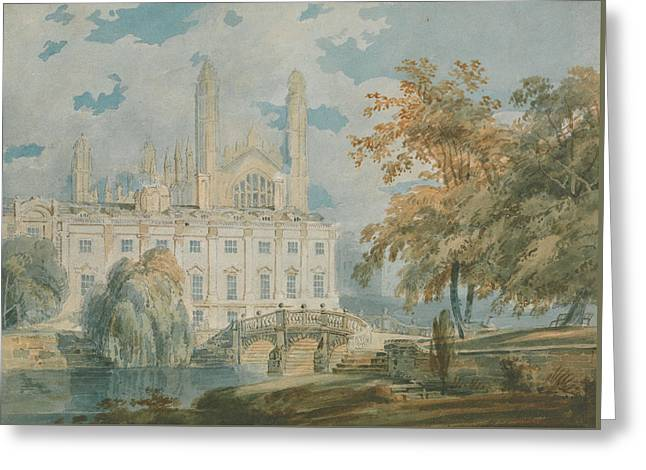 Clare Hall And Kings College Chapel, Cambridge  Greeting Card by Joseph Mallord William Turner