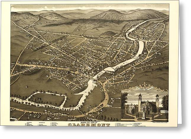 Claremont New Hampshire 1877 Greeting Card by Mountain Dreams
