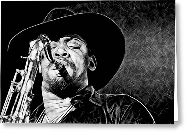 Clarence Clemons Collection Greeting Card by Marvin Blaine