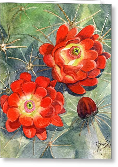 Claret Cup Cactus Greeting Card by Marilyn Smith