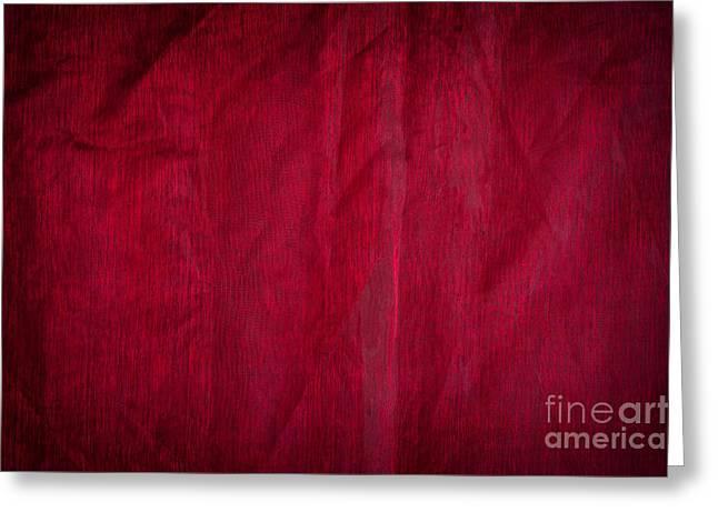Claret Organza Texture Abstract Greeting Card by Arletta Cwalina