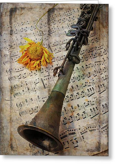 Clarinet And Old Sunflower Greeting Card by Garry Gay