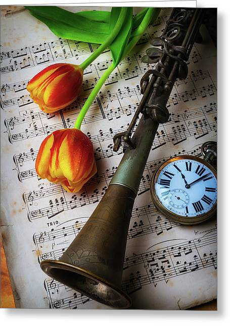 Clarinet And Tulips Greeting Card