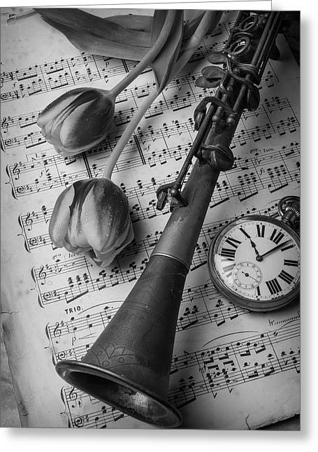 Clarinet In Black And White Greeting Card by Garry Gay
