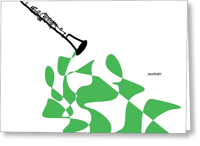 Clarinet In Green Greeting Card