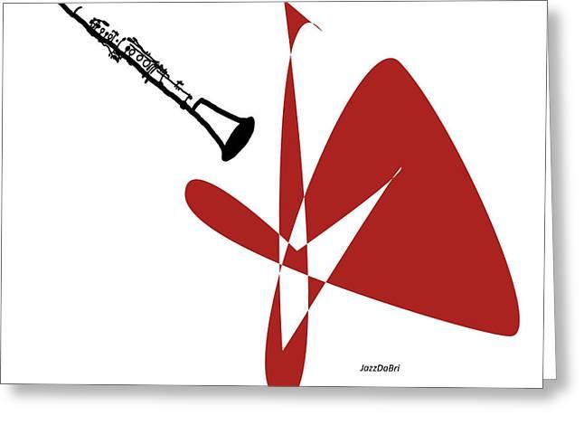Clarinet In Orange Red Greeting Card