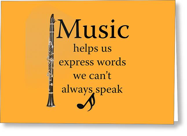 Clarinet Music Expresses Words Greeting Card by M K  Miller