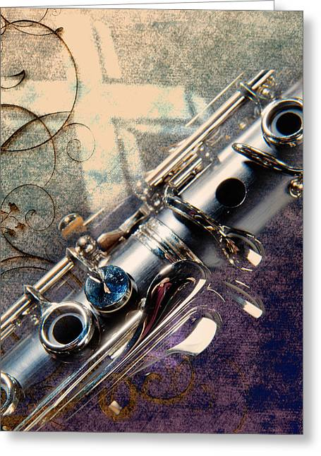 Clarinet Music Instrument Against A Cross 3520.02 Greeting Card