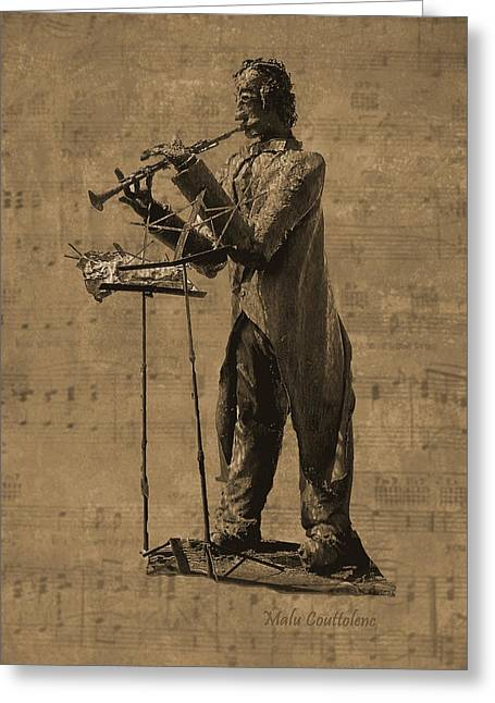 Clarinet Player Greeting Card by Malu Couttolenc