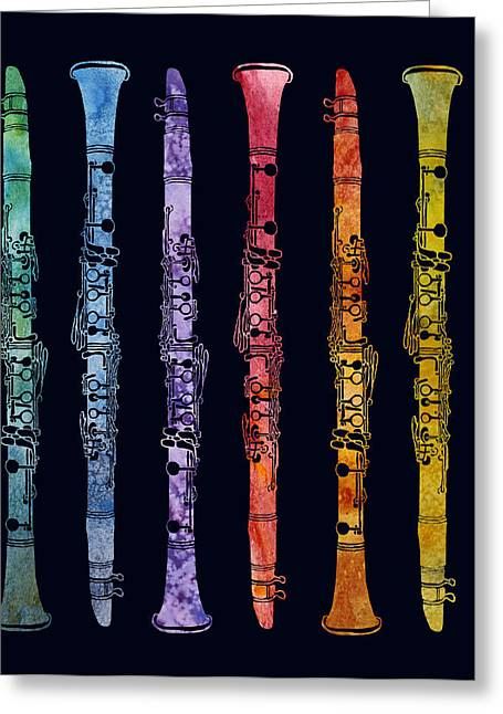 Clarinet Rainbow Greeting Card by Jenny Armitage