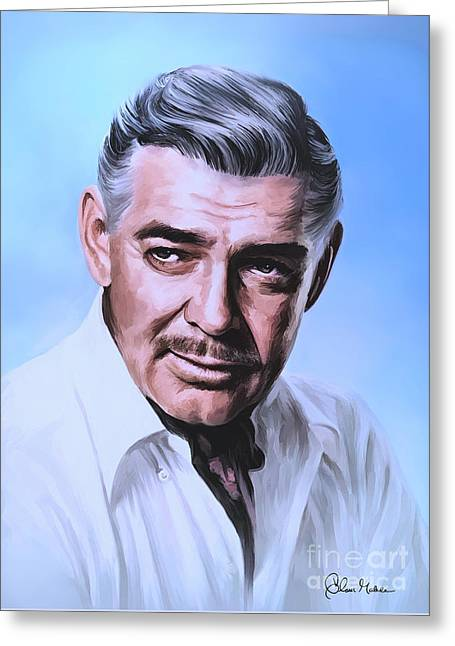 Greeting Card featuring the painting  Clark Gable 2 by Andrzej Szczerski