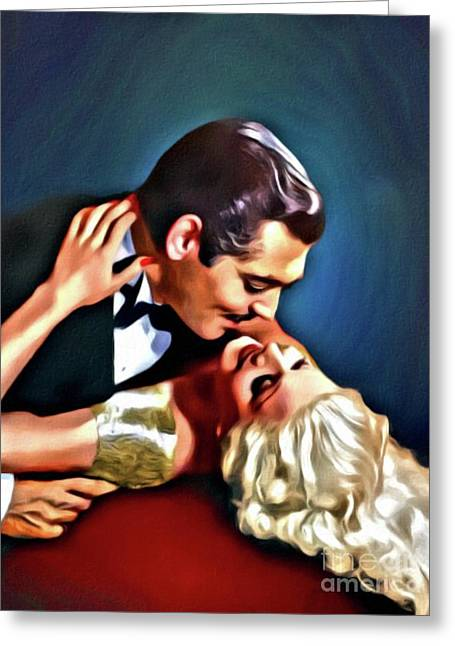 Clark Gable And Jean Harlow, Embrace, Digital Art By Mary Bassett Greeting Card