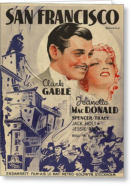 Clark Gable San Francisco Vintage Classic Movie Promotional Poster Greeting Card by Design Turnpike