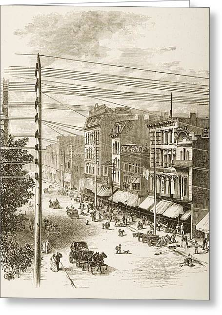 Clark Street, Chicago, Illinois In Greeting Card by Vintage Design Pics