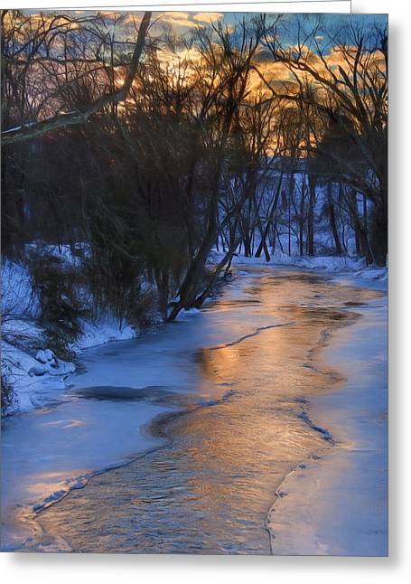 Clarks Creek Sunset Greeting Card by Lori Deiter