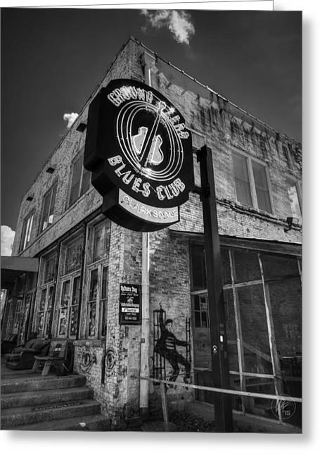 Clarksdale - Ground Zero Blues Club 001 Bw Greeting Card by Lance Vaughn