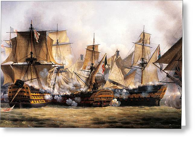 Clash Between English Temeraire And French Redoubtable Ships During Battle Of Trafalgar Greeting Card by Unknown