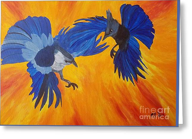 Clash Of Wings Greeting Card by Maria Urso