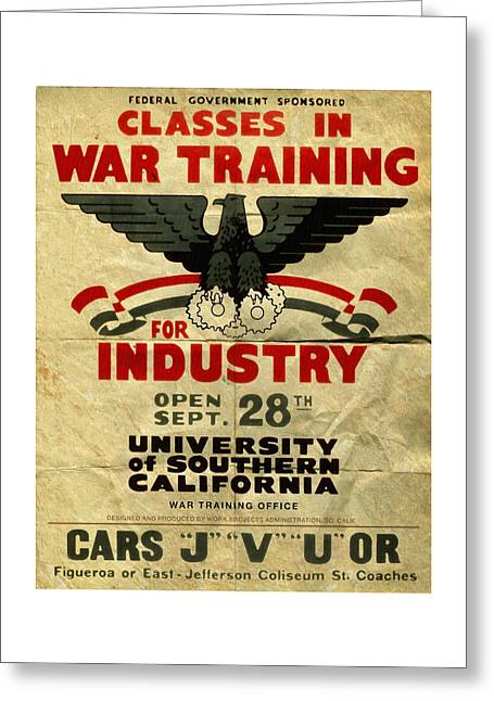 Classes In War Training For Industry - Vintage Poster Folded Greeting Card