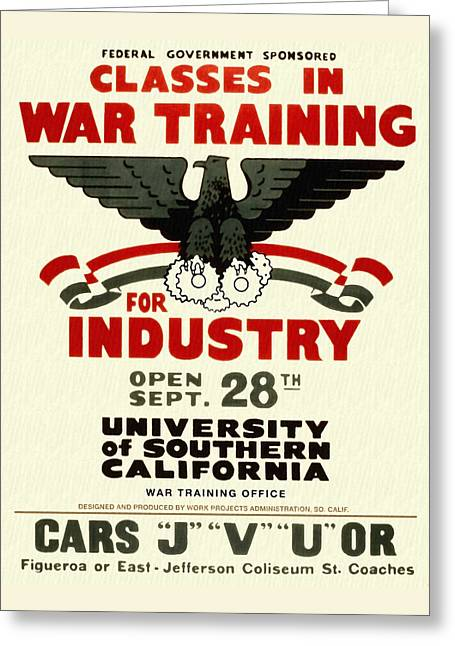 Classes In War Training For Industry - Vintage Poster Restored Greeting Card