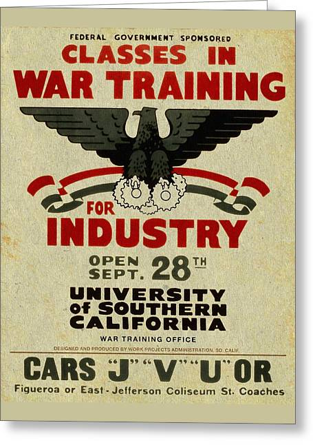 Classes In War Training For Industry - Vintage Poster Vintagelized Greeting Card
