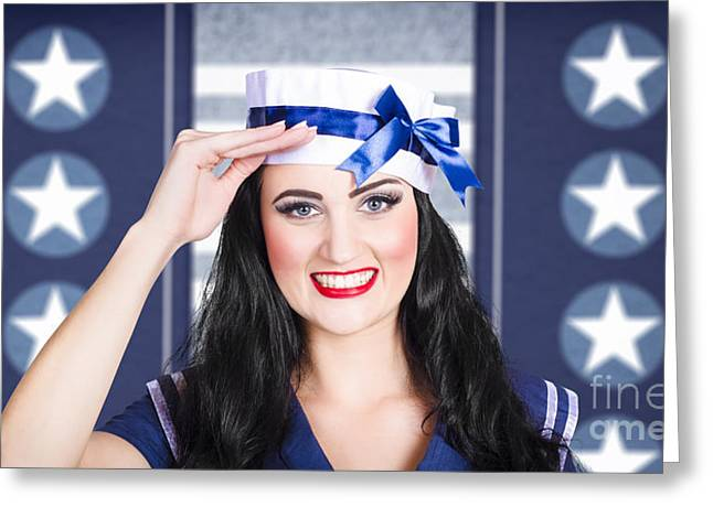 Classic 40s Pin Up Navy Girl Saluting With Smile Greeting Card by Jorgo Photography - Wall Art Gallery
