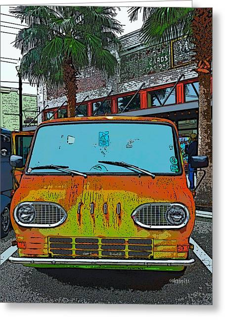 Classic 61 Ford Econoline Station Bus Van Greeting Card by Rebecca Korpita